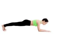 Pose de yoga de planche de dauphin Images libres de droits