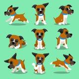 Pose del cane del pugile del personaggio dei cartoni animati Immagine Stock Libera da Diritti