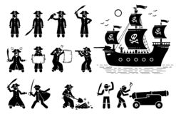 Pose del pirata ed icone della nave illustrazione vettoriale