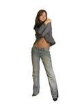 Pose della ragazza che si levano in piedi isolate su bianco Fotografia Stock Libera da Diritti