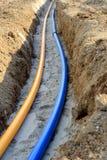 Pose des conduites d'eau de gaz et Photo libre de droits