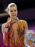 Pose di Anna POGORILAYA con la medaglia di bronzo Fotografia Stock Libera da Diritti