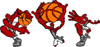 Pose di azione del giocatore di pallacanestro Fotografia Stock