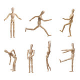 Pose di modello di Wooden Mannequin Collection isolate Immagine Stock
