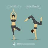 Pose di yoga in a due posizioni Vettore Fotografia Stock
