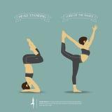 Pose di yoga in a due posizioni Vettore Fotografia Stock Libera da Diritti