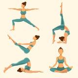 Pose di yoga fissate Illustrazione di vettore Illustrazione Vettoriale