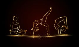 Pose di yoga fissate Illustrazione lineare dorata di yoga per l'insegna, il fondo e l'aletta di filatoio di sport Fotografia Stock