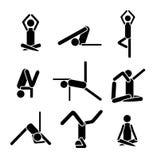 Pose do asana da ioga dos ícones isolada no fundo branco EPS 8 Imagens de Stock Royalty Free
