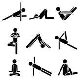 Pose do asana da ioga dos ícones isolada no fundo branco EPS 8 Foto de Stock Royalty Free
