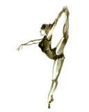 Pose do bailado da aquarela Bailarina na dança Fotografia de Stock