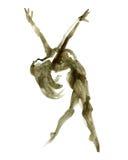 Pose do bailado da aquarela Bailarina na dança Imagens de Stock Royalty Free