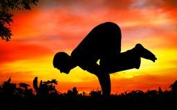 Pose do guindaste do bakasana da silhueta da ioga Imagens de Stock Royalty Free