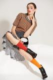 Pose do modelo de forma no fundo claro Fotografia de Stock Royalty Free