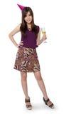 Pose do party girl, corpo completo no branco Fotos de Stock
