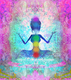 Pose dos lótus da IOGA Padmasana com pontos coloridos do chakra Foto de Stock
