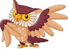 Pose drôle d'oiseau de hibou de bande dessinée Photographie stock libre de droits