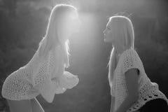 Pose femelle caucasienne de mannequin Couples homosexuels des filles sexy jumelles flirtant le jour ensoleillé Image libre de droits