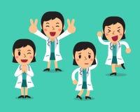 Pose femminili del carattere di medico del fumetto fissate Immagine Stock Libera da Diritti