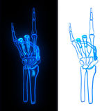 Pose hand bone. Devil glow Royalty Free Stock Photography