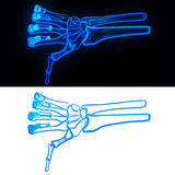 Pose hand bone. Devil glow dislike Royalty Free Stock Images