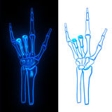 Pose hand bone. Devil glow love Stock Image