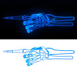 Pose hand bone. Devil glow point Stock Photos