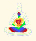The pose of lotas yoga. Rainbow colors Stock Images