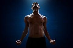 Pose muscular do homem Foto de Stock