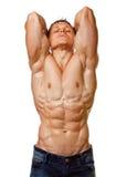 Pose nue humide sexy de jeune homme de muscle Photo stock