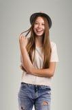 Pose occasionnelle positive de femme Portrait émotif de fille Jeune marché des changes Photos stock