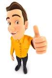 pose positiva do homem 3d com polegar acima ilustração royalty free