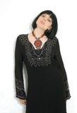Pose. Pretty brunette in black dress Stock Images