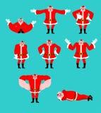 Pose réglée de Santa Pig Le bien et le mal Gai et triste Yoga et St illustration stock