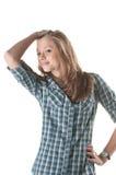 Pose rousse de fille Image stock