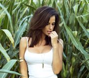 Pose sensuelle de dame de brune extérieure Photo stock