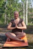 Pose Sukhasana. Namaste Stock Images