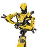 Pose superbe de bodybuilder de bourdon de robot jaune méga à un arrière-plan blanc