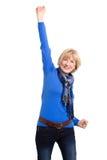 Pose supérieure attrayante heureuse de femme Image libre de droits