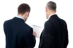Pose traseira de executivos novos consideráveis imagens de stock royalty free