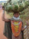 Pose tribali della donna di Bonda per un ritratto Immagini Stock Libere da Diritti