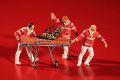 Posed Miniature Paramedics Treating the Honeybee Crisis. Humorous Posed Miniature Paramedics Treating the Honeybee Crisis Stock Photo