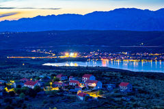 Posedarje bay and Velebit mountain sunset view Royalty Free Stock Images