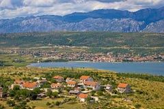 Posedarje bay and Velebit mountain view Stock Images