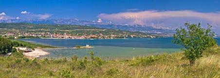Posedarje zatoka i Velebit halny panoramiczny widok Zdjęcie Royalty Free