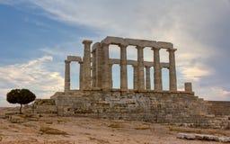 Poseidon寺庙, Sounio,希腊 图库摄影