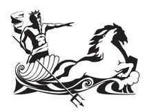 Poseidon Нептун с трёхзубцем на иллюстрации вектора колесницы Стоковое фото RF