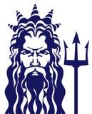 Poseidon de Neptuno con el ejemplo del vector del tridente Fotos de archivo libres de regalías