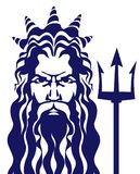 Poseidon de Netuno com ilustração do vetor do tridente Fotos de Stock Royalty Free