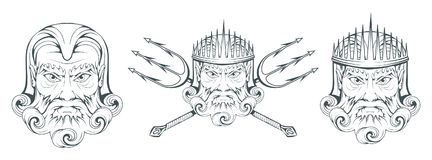 Poseidon - dio supremo del mare del greco antico Mitologia greca Tridente di Nettuno Raccolta dei di olimpionico Testa disegnata  Immagini Stock